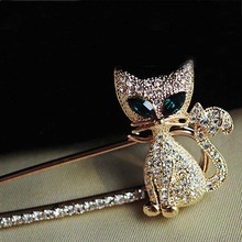 0  Hot Sale Korea Crystal Lovely Cat Brooch Pin Unisex Brooches for Wedding Party Hottest