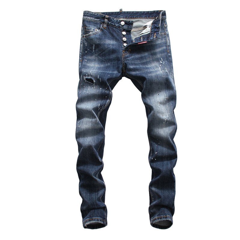DSQPLEIND2 Men's Jeans Printed Skinny Zipper Denim Casual with Hole-Washed for Man 100%Cotton-Button title=