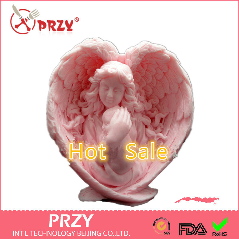 3D Silicone Soap/Candle Mold Mother Angel holds her Baby Tight 2 parts assembled mold handmade soap mold form of Cake