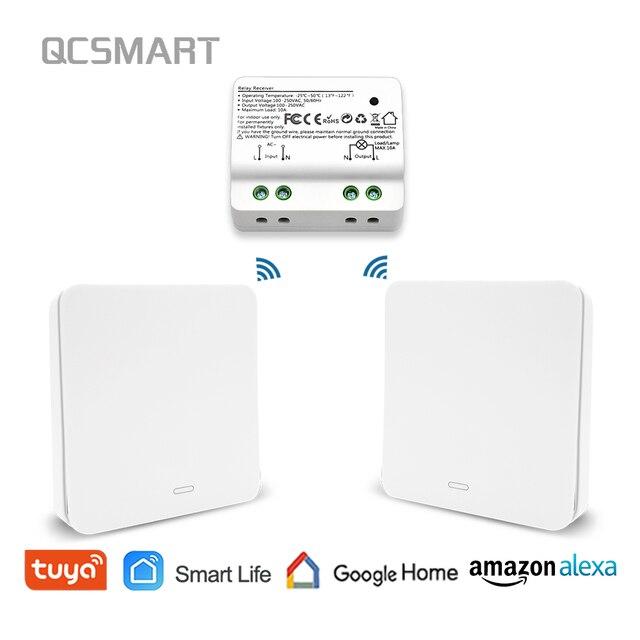 Interruptor de luz inteligente WiFi con interruptor inalámbrico RF No se necesita batería, Control remoto de iluminación, alexa eco Google Control de voz