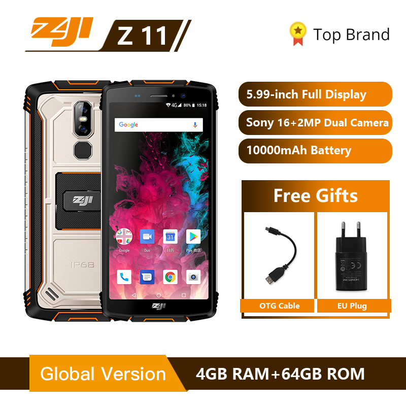 "HOMTOM ZOJI Z11 IP68 Waterproof Dust Proof 10000mAh Smartphone 4GB 64GB Octa Core Cell Phone 5.99"" 18:9 Face ID 4G Mobile Phone"