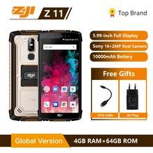 "HOMTOM ZOJI Z11 IP68 Waterproof Dust Proof 10000mAh Smartphone 4GB 64GB Octa Core Cell Phone 5.99"" 18:9 Face ID 4G Mobile Phone"