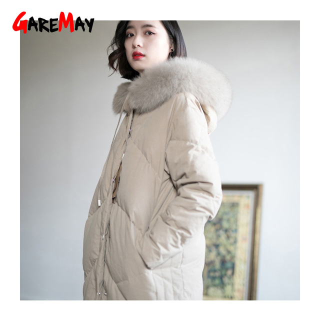 277ff5fcf0e01 2018 New Korean Winter Jackets Women White Duck Down Coat Warm Thick Loose  Parkas With Hoodies Fur Collar Natural Raccoon Coat