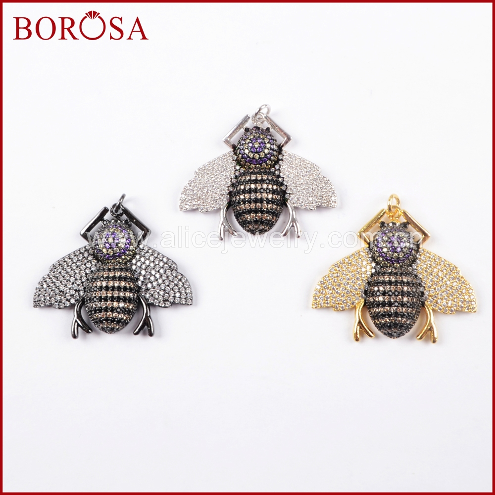 BOROSA New Design CZ Insects Beetles Pendant Multicolor Small Bugs Pets Beads Charm Pendant for Earrings DIY Jewelry WX839