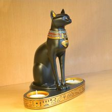 Resin Ancient Egyptian Cat Candle Holder Crafts Candlestick Romantic Dinner Candle Holder Home Table Wedding Cafe Bar Decor(China)