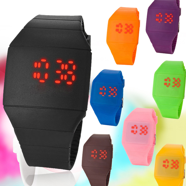 2015 Unisex Ultra Thin Cool Red LED Touch Screen Digital Display Wrist Watch Rubber Wristwatch Cheapest Price Watches