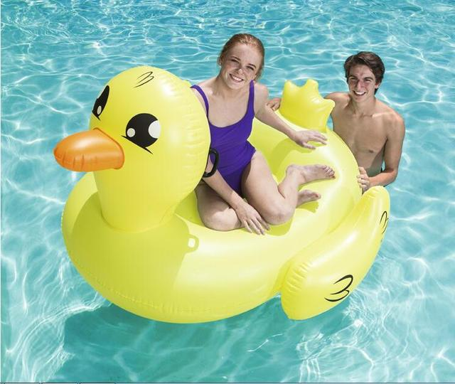 Summer Fun Island Play Thickening Safety Bestway 41106 Water Pool Seat Riding Toys Cute Yellow Duck Float With Handle Cup Holder
