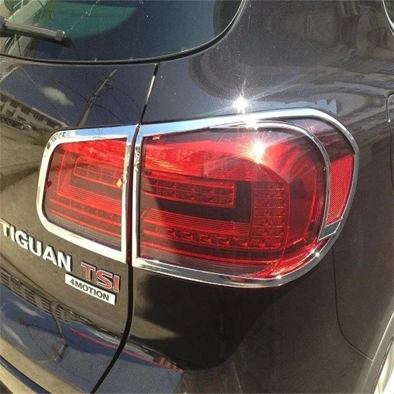 Décoration de couvercle de feux arrière Chrome ABS de haute qualité 4 pièces pour Volkswagen VW 2010-2013 accessoires d'autocollants extérieurs Tiguan