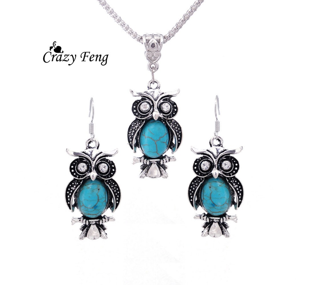 Hot Sales Wedding Silver-color Stone Stone Vintage Antique Owl Design Earrings Necklace Jewelry Sets Party For Women Gift