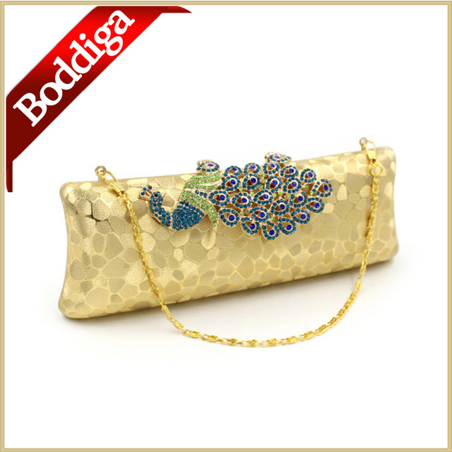 Luxury Bling Pea Clutch Bag Clasp Gold Evening Indian Wedding Bags For