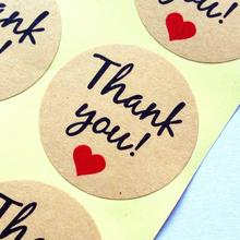 100pcs/lot Stickers Handwritten 'Thank You' Red Heart Round Kraft Paper Seal Sticker For Handmade Products Gift Decoration Label