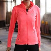 Szybkie Suche Koszulka Sportowa Run damskie Fitness zamek Z Długim Rękawem stań collar Wysoka Elastyczna Odkryty Sport Shirt