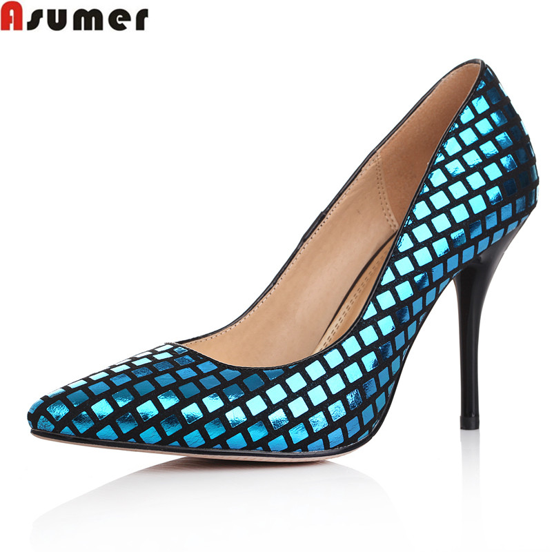 Asumer fashion glitter party shoes woman high quality genuine leather women pumps thin heels pointed toe slip-on big size 33-40 spring autumn women pumps big size lazy shoes leather high thin heels pointed toe casual fashion party sexy slip on shallow