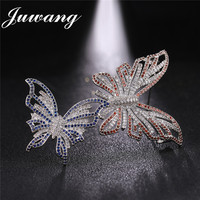 JUWANG Luxury Two Butterflies Brooches for Woman Cubic Zirconia Paved Crystal Bride Wedding Jewelry Brooch Pins Scarf