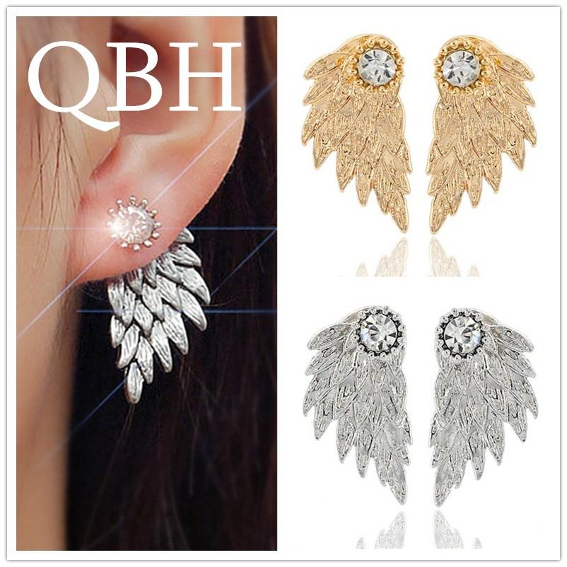 EK101 Vintage Gothic 3D Angel Wing Punk Brincos Crystal Feather Stud Earrings for Women Fashion Ear Jewelry Pendientes
