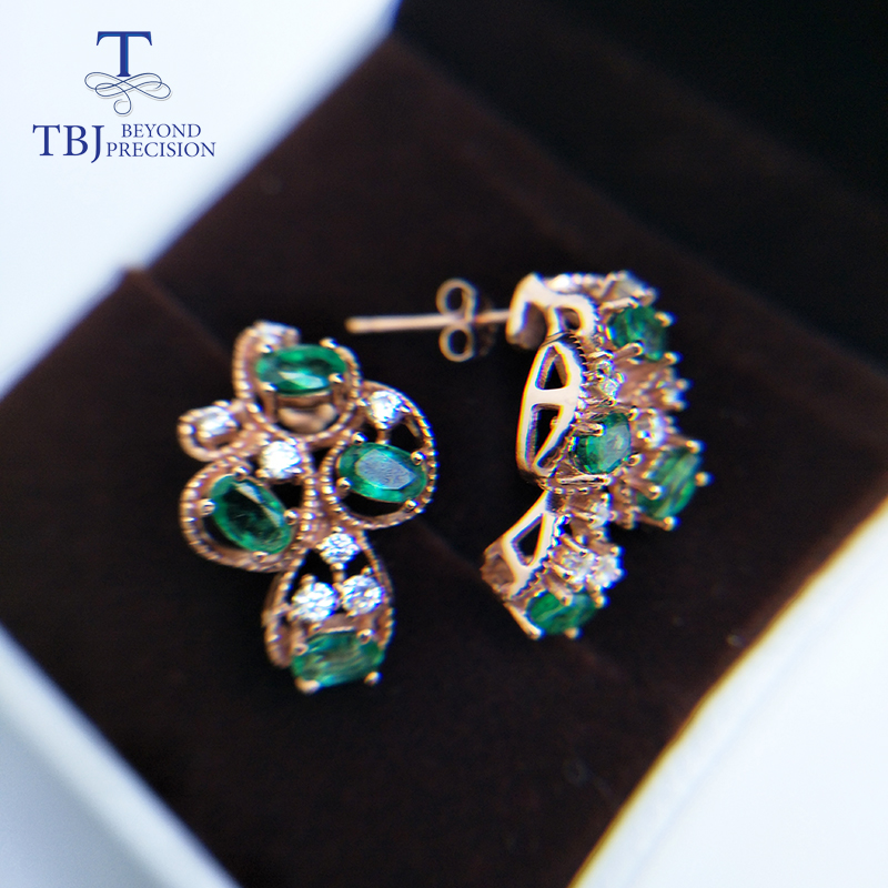 TBJ,Natural zambia green emerald gemstone earring 925 sterling silver rose gold fine jewelry for women gift