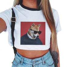 Grote hond dragen zonnebril Grappige T-shirts 2019 Zomer Shirts Riverdale T-shirt Leisure Streetwear Esthetische Crop Top Vrouwen Shirt(China)