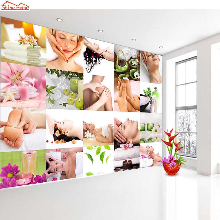 Shinehome-ספא סלון נייל אמנות עיסוי חנות 3 d לסלון 3d קיר לחמניות קיר נייר רול טפטים papel דה פארדה