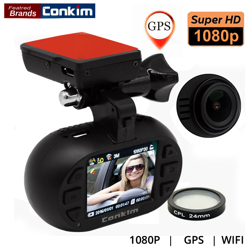 цена Conkim Car DVR With GPS Wifi Camera Auto Registrator 1080P Full HD WDR Parking Guard Dashcam Novatek 96655 w/ CPL Mini 0903 Nano