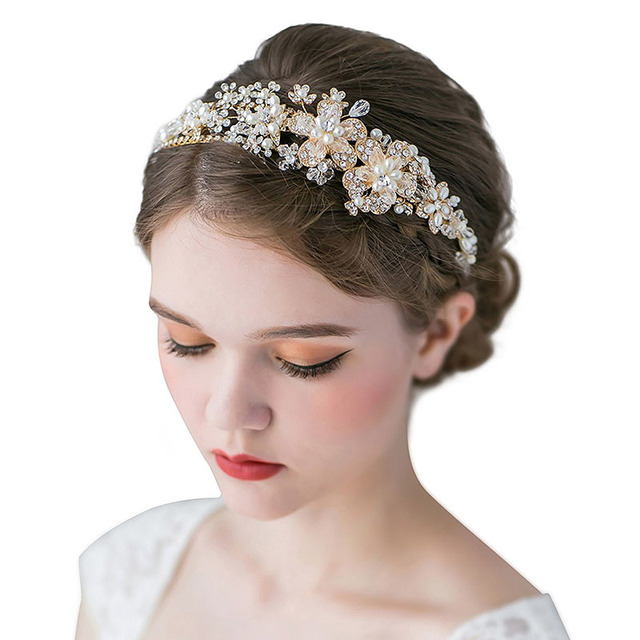 Retro Pearl Headband Gold Double Band Rhinestone Hair Tiara Crown Silver Bridal Jewelry Wedding