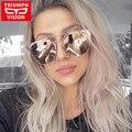 TRIUMPH VISÃO Marca Designer Óculos de Sol Para As Mulheres Rodada Estilo Piloto Óculos De Sol Rosa Espelho Shades Oculos Feminino Das Mulheres 2017 Novo