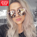 TRIUMPH VISION Brand Designer Sun Glasses For Women Round Pilot Style Female Sunglasses Pink Mirror Shades Oculos Women 2017 New