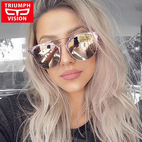 c77b1c30b5f4d TRIUMPH VISION marca diseñador gafas de sol para las mujeres ronda piloto  estilo femenino gafas de