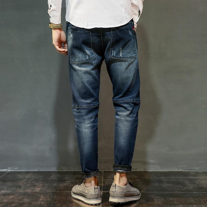 Moda hombre Biker Jeans Pantalones Slim Fit plisado motocicleta Denim  Joggers hombre Jean pantalones Balmain hombres de longitud completa en  Pantalones ...