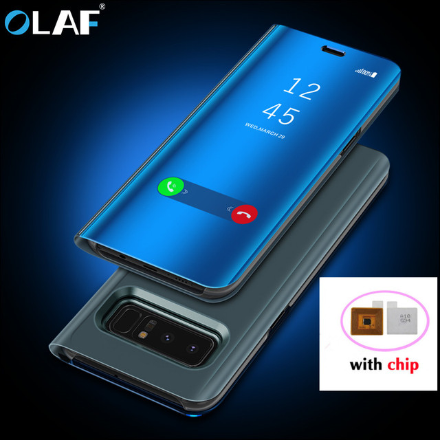 new arrival 06c18 3949e US $34.27 |OLAF Flip Cover Leather Case For Samsung Galaxy S8 Plus S9 Plus  Note 8 S8 Note8 S 9 8 Phone Case Smart Chip Clear View Cover-in Flip Cases  ...