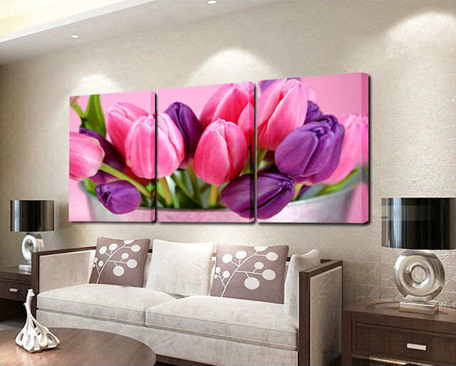 Aliexpress.com : Buy Free shipping 3 panel tulips Painting Printed ...