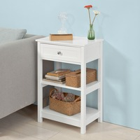 SoBuy FBT46, Beside Table with 1 Drawer 2 Shelves, Lamp Table Side Table Night Stand Living Room Furniture