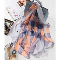 DANKEYISI British Plaid Scarf Silk Female New Real Silk Women Designer Scarf Pashmina Wraps Natural Silk Scarf Luxury Brand