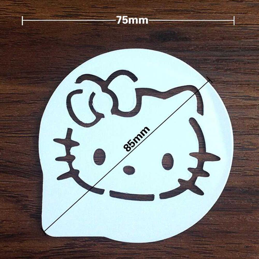 Plástico olá kitty bolo decoração fornecimento cupcake molde molde de café estêncil spray cozimento molde strew pastelaria ferramentas 12 estilos