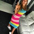 Otoño Invierno Tejer Vestido de Las Mujeres 2016 Nuevo Arco Iris de Rayas Sexy Vestidos de Suéter Suéteres Dulces Ocasional Vestido De Festa