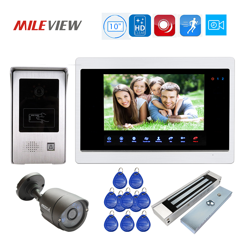 Free Shipping 1200TVL 10 Video Door Phone Intercom Record Screen Kit RFID Unlock Door Camera Motion Detection Magnetic Lock