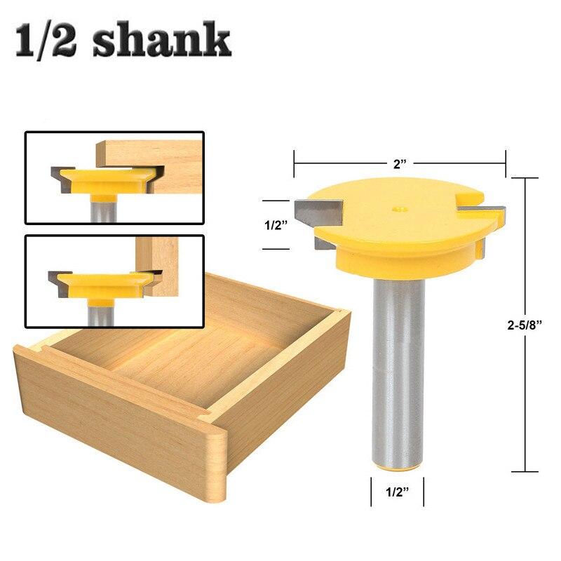 """1pc 12.7mm 1/2 """"Shank dwustronna szuflada przód wspólne frezarka do drewna Bit węglika wolframu zamek do szuflady Bit nóż do drewna"""