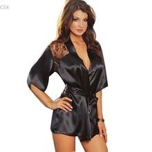 Alishebuy Venda Quente! 2015 Novo Sexy Lingerie Satin Black Lace Kimono Intimate Pijamas Robe Camisola 35