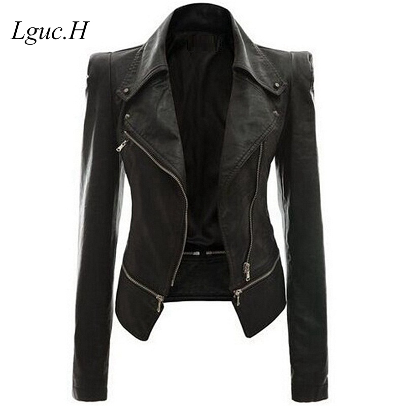 Lguc.H 2018 PU Leather Jackets Woman Trendy Military Jacket Female Coats Big Size Women Clothes Fashion Clothing Black Khaki 4XL