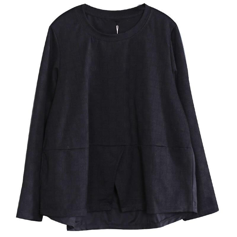 Sólido Las Color Wbb1742 Ocasionales Mujeres cuello De hg Corea Manga Moda Dividir Completa Agárico Camiseta Suelta Patchwork O 2019 Black Nuevo Primavera 6qBwZZ