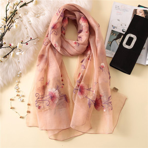 Image 2 - New silk wool scarf women fashion floral embroidery shawl wrap high quality pashmina winter neck scarf bandana face mask hijab