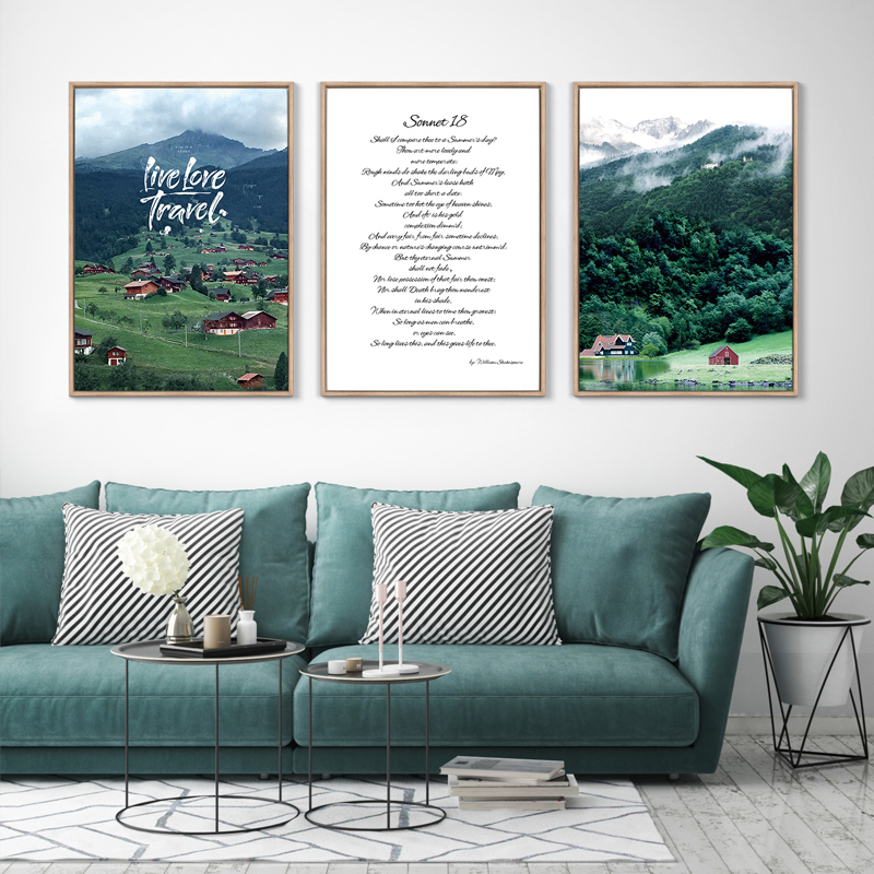 Nordic Style Shakespeare's Poem Wall Art Poster Canvas Print for House Company Office Living Room Wall Decoration Painting image