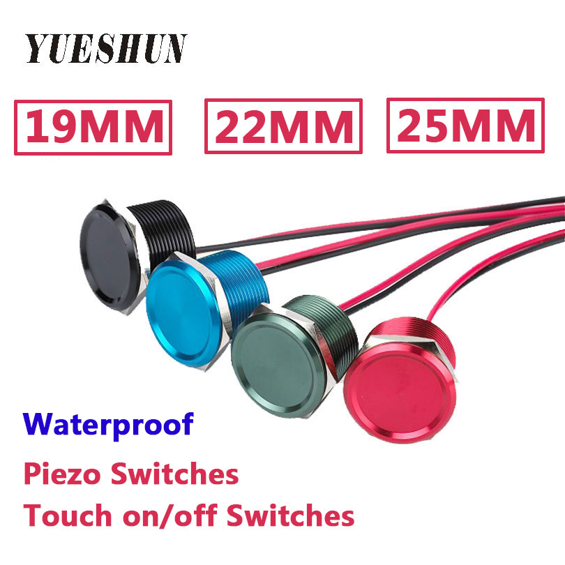 цена на YUESHUN 19mm 22mm 25mm Aluminum anodized Piezo Switch waterproof IP68 Touch on/off switch Momentary push button switch