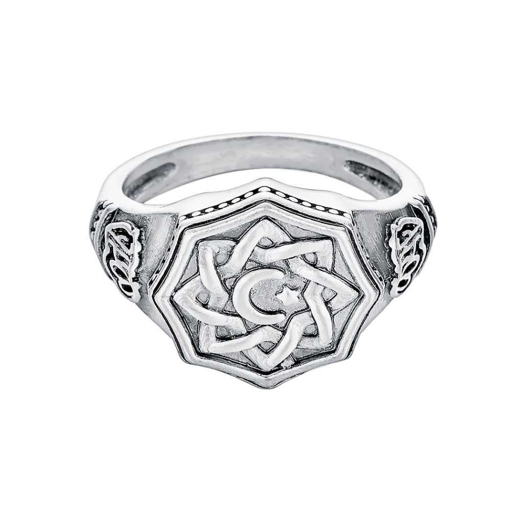 Handmade สแกนดิเนเวียนแหวน Slavic Sun Runic Amulet Moon Star นิ้วมือแหวนนอร์สไวกิ้งของขวัญเครื่องประดับสำหรับผู้ชาย Bague Anel