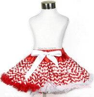 Xmas nóng đỏ trắng sóng Streak đầy đủ pettiskirt váy bữa tiệc khiêu vũ tutu pettiskirt cô gái 1-8y p164