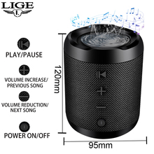 LIGE Mini Portable Wireless Bluetooth Speaker Stereo Speakerphone Radio Music Subwoofer Column Speakers for Computer with TF FM