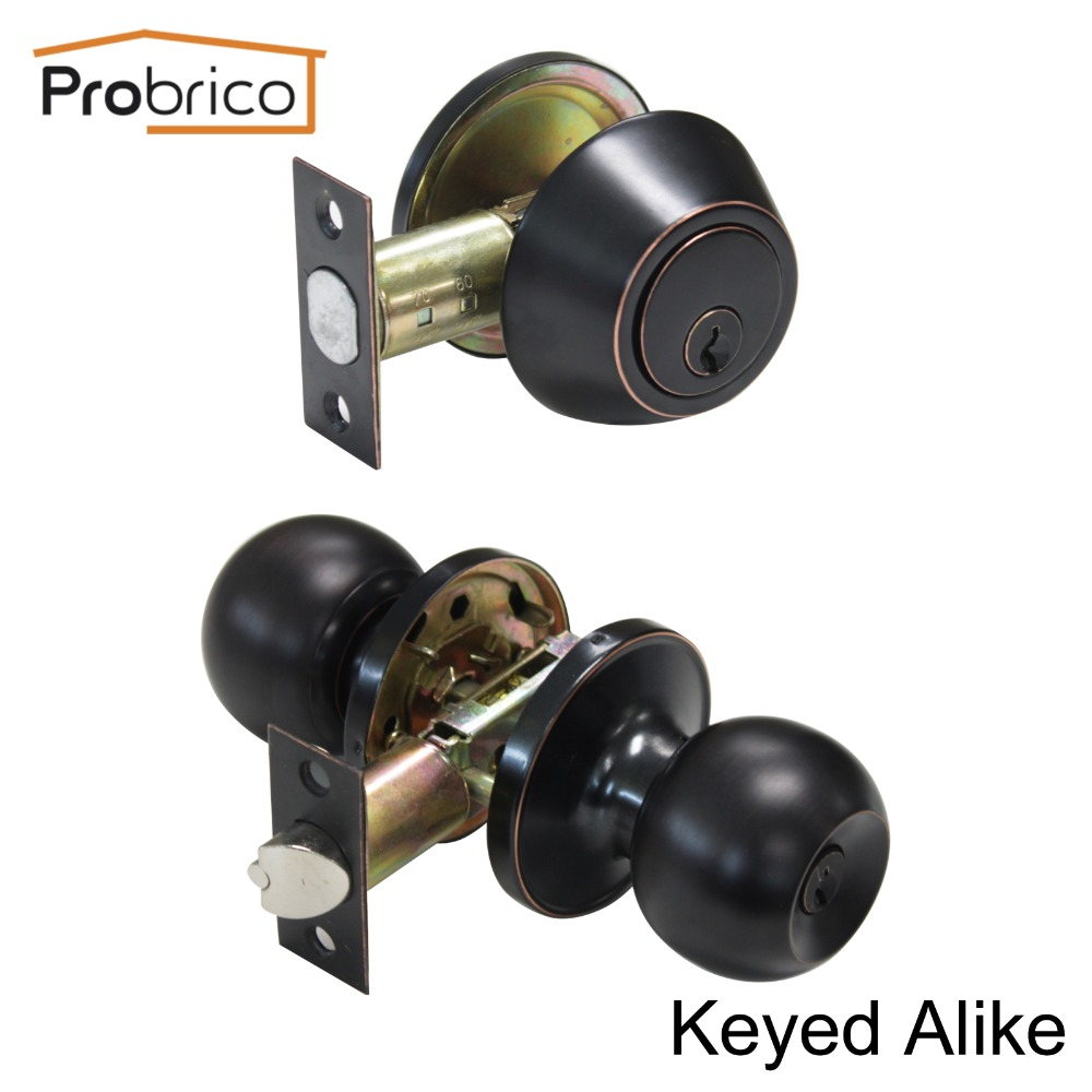 Probrico Round Stainless Steel Keyed Alike Entrance Door Lock With Deadbolt Oil Rubbed Bronze Door Handle Knob DL607ET-101ORB top quality 304 stainless steel interior door lock big 50 small 50 series bedroom door anti insert handle lock