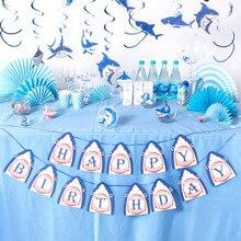 1pc Shark Happy Birthday Banner Finding Nemo Submarine World Ocean Sea Theme Party Boy Decor
