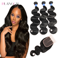 7A Peruvian Virgin Hair With Closure 4pcs/lot Body Wave Human Hair bundle With Closure Peruvian body wave With Closure 3bundles