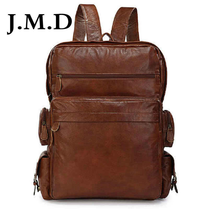 J.M.D 2017 New High Quality 100% Real Leather Brown Men s Stylish Backpacks  For College Backpack Bag Large Tote Bags 7078-in Backpacks from Luggage    Bags ... f0ac2053b4