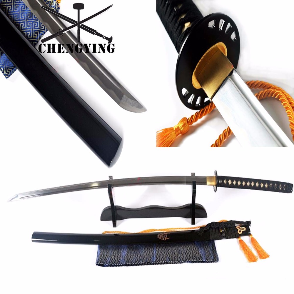 Hand Forged Japanese Black Kill Bill Katana Sword Black Iron Tsuba 9260 Spring steel Sharpened Blade
